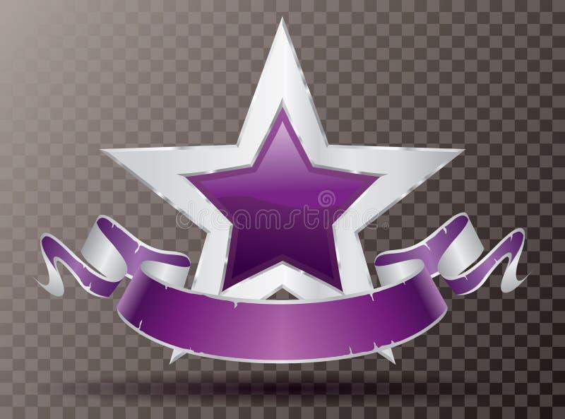 Försilvra purpurfärgade banerlilor för stjärnan stock illustrationer