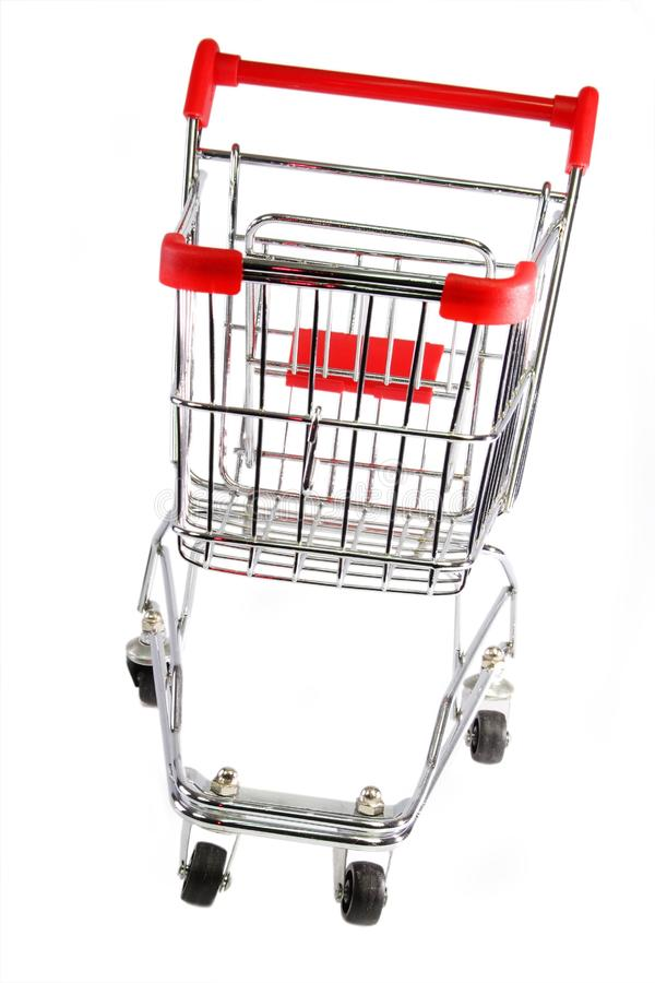 Försilvra shoppingtrolleyen royaltyfria foton