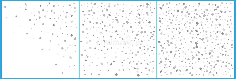 Försilvra stjärnakonfettiberömmar Enkel festlig modern design Isolerat på vit Ställ in 3 i 1 vektor illustrationer