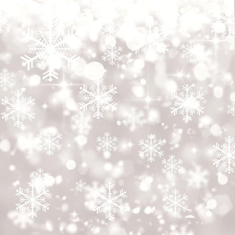 Försilvra suddig bokehbakgrund, vintern, jul, snöfall, sn royaltyfri illustrationer