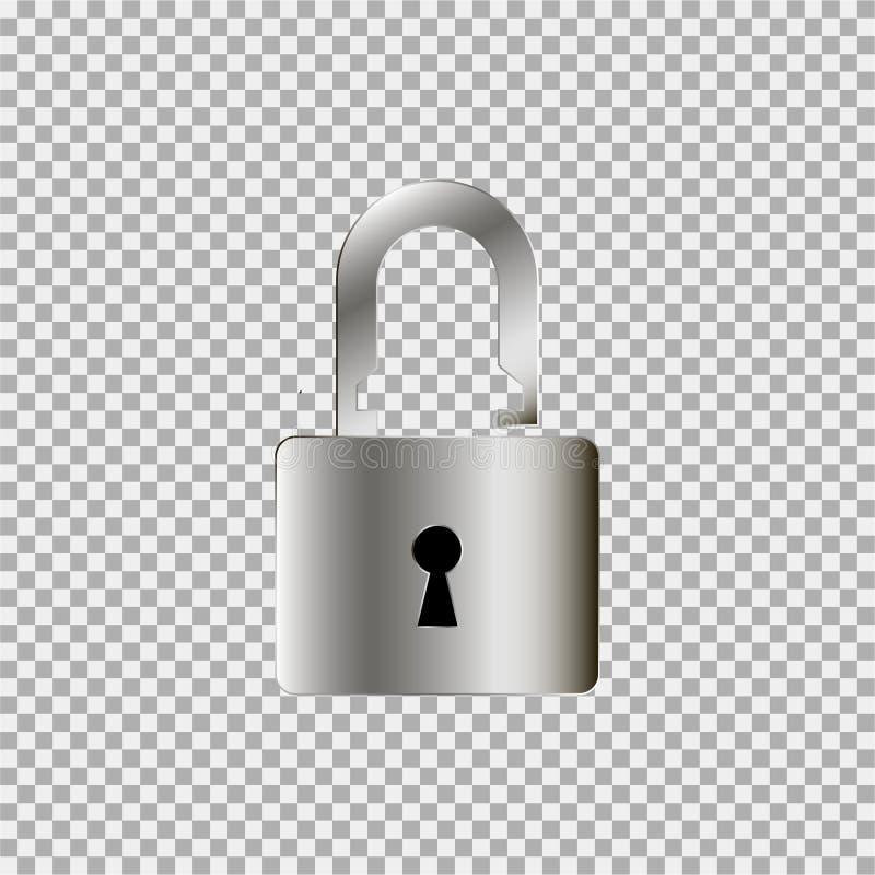 Försilvra symbolen för låstangenten på en grå bakgrund vektor illustrationer