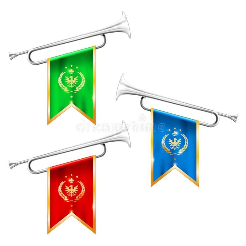 Försilvra trumpeter med den kungliga symbolicsen - fanfar för segerrikt som är mässings royaltyfri illustrationer