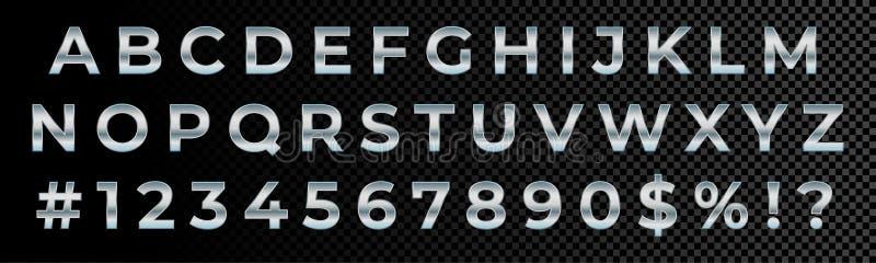 Försilvra typografi för alfabetet för stilsortsnummer och bokstavs Vektorn försilvrar metallisk stilsortstyp, glansig krom för me royaltyfri illustrationer