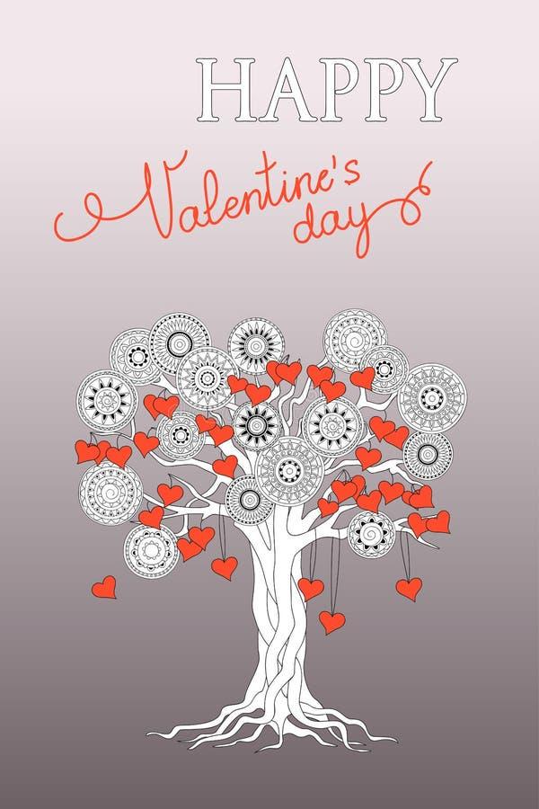 Försilvra valentinkortet med trädet av mandalas och hjärtor royaltyfri illustrationer