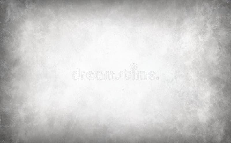 Försilvra vit bakgrund med marmorerad gränstextur, den eleganta gråa och svarta karaktärsteckninggränsen och skinande urblekt met royaltyfri illustrationer