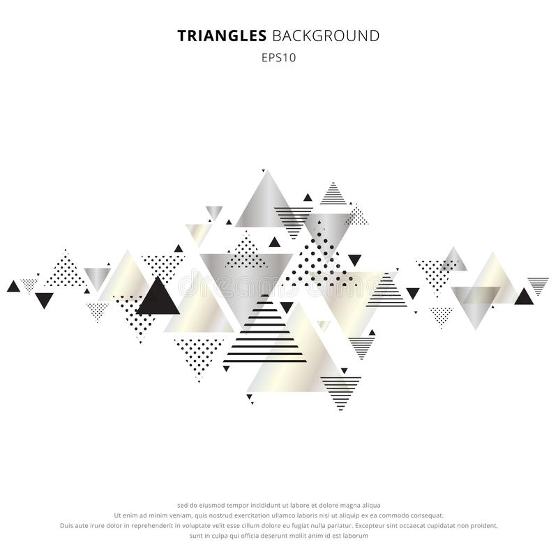 Försilvrar geometrisk triangelguld för abstrakta beståndsdelar, färg på vit bakgrund Dynamisk modellsammansättning för lyxig ny r stock illustrationer