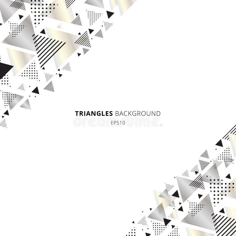 Försilvrar geometrisk triangelguld för abstrakta beståndsdelar, färg på vit bakgrund med utrymme för text Dynamisk lyxig ny retro vektor illustrationer