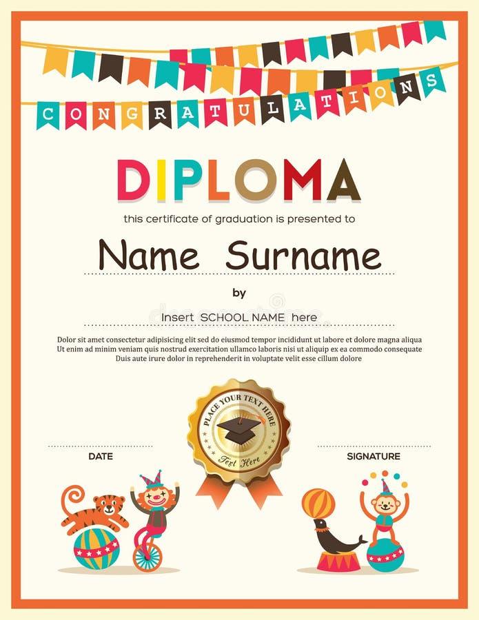 Förskole- bakgrund för certifikat för grundskolaungediplom stock illustrationer