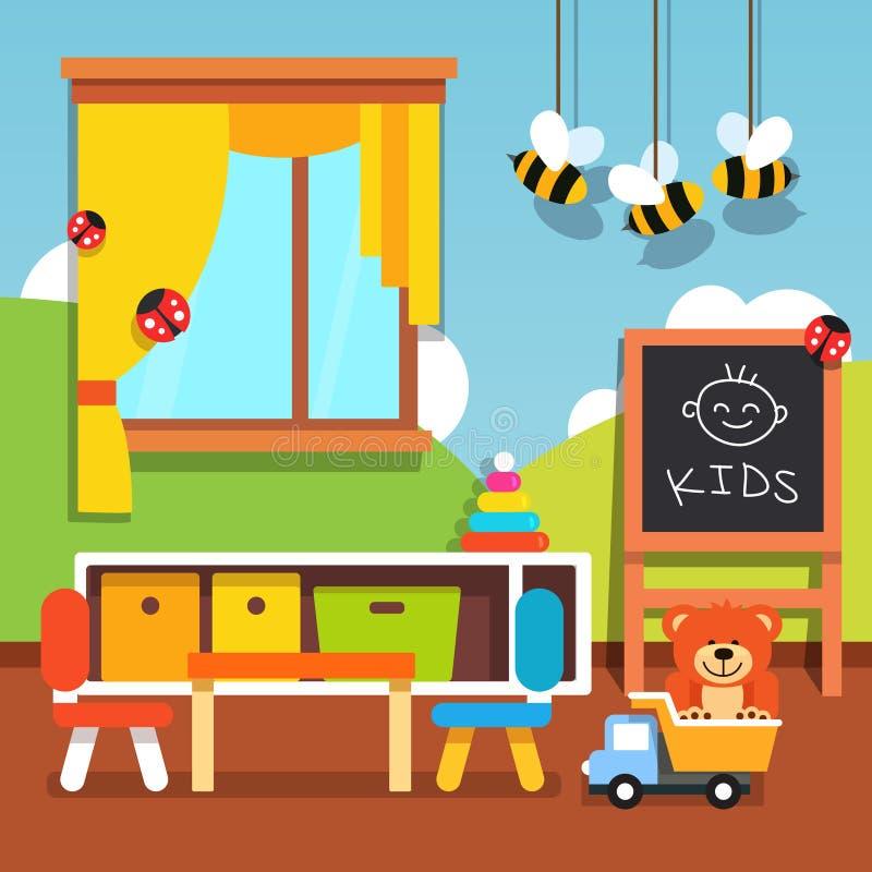 Förskole- dagisklassrum med leksaker royaltyfri illustrationer
