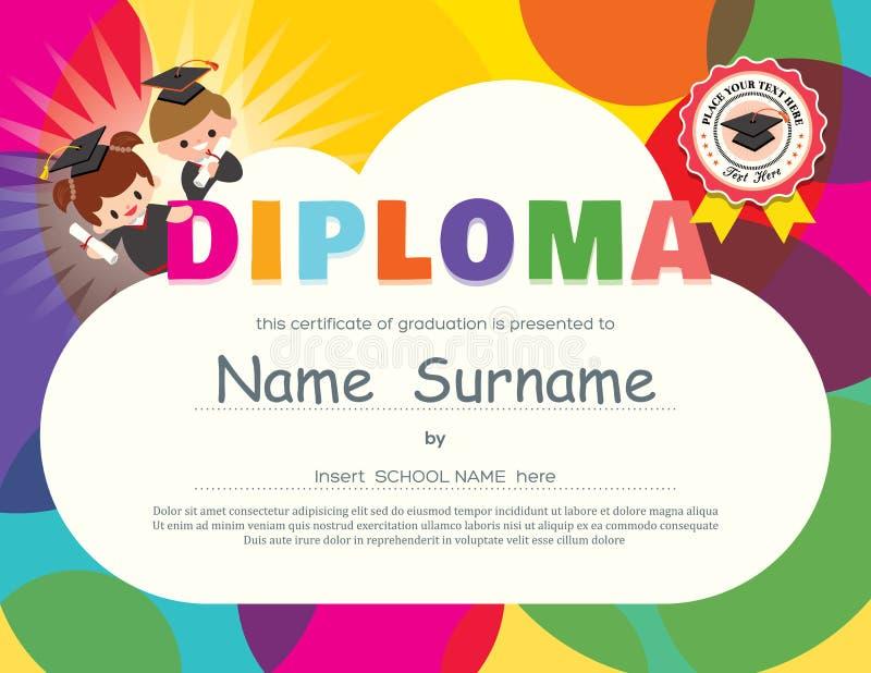 Förskole- mall för design för certifikat för grundskolaungediplom royaltyfri illustrationer