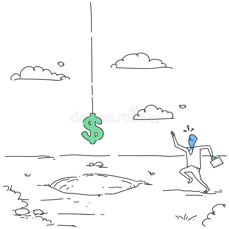 Förskräckt affärsman med dollartecknet som faller i begrepp för kris för finans för hålkrediteringsskuld stock illustrationer