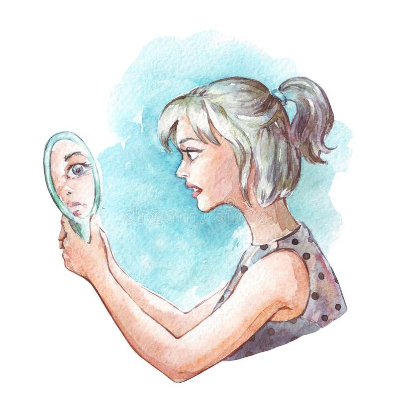 Förskräckt flicka som ser spegeln stock illustrationer
