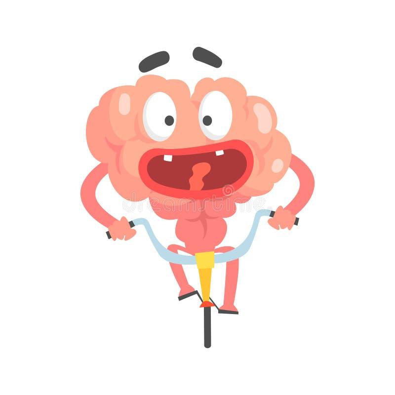 Förskräckt humaniserad ridning för tecknad filmhjärntecken på en cykel, illustration för vektor för mänskligt organ för intellekt stock illustrationer