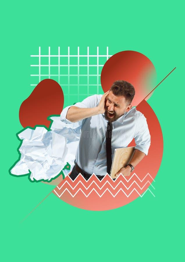 Förskräckt och chockad affärsman under framstickandetryck stock illustrationer
