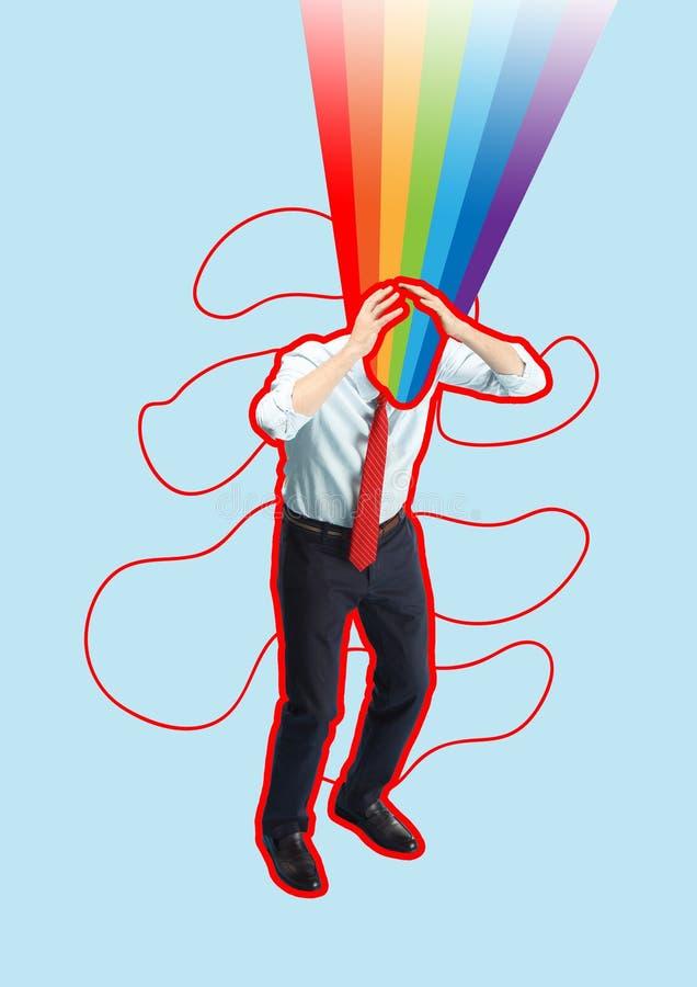 Förskräckt och chockad affärsman under framstickandetryck royaltyfri illustrationer
