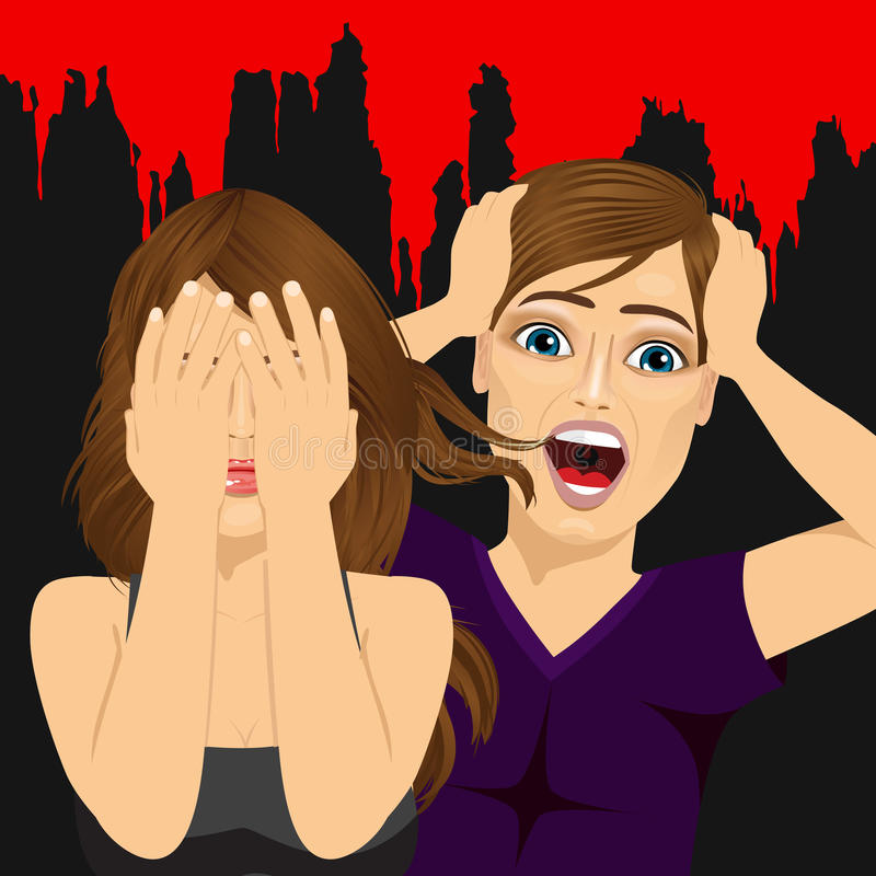 Förskräckt skrika för par som skrämmas på ett halloween nattparti stock illustrationer