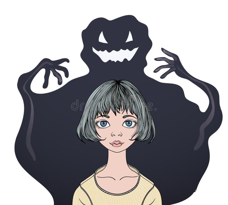 Förskräckt tonårs- flicka framme av en gigantisk spökepsykologi, skräck och fobin Färgrik plan vektorilustration vektor illustrationer