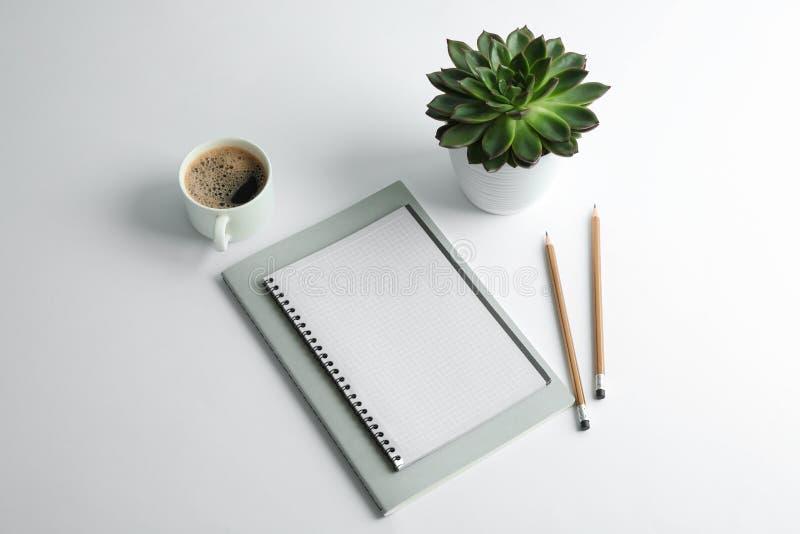 Förskriftsböcker, kopp kaffe, blyertspennor och suckulent växt på vit bakgrund royaltyfri foto