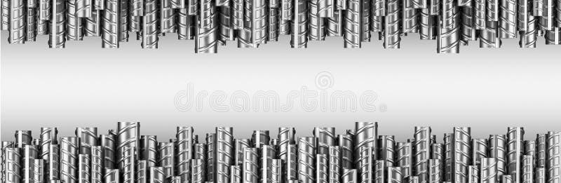 Förstärkningstålstänger i dubbelrad industriell bakgrund Bu stock illustrationer