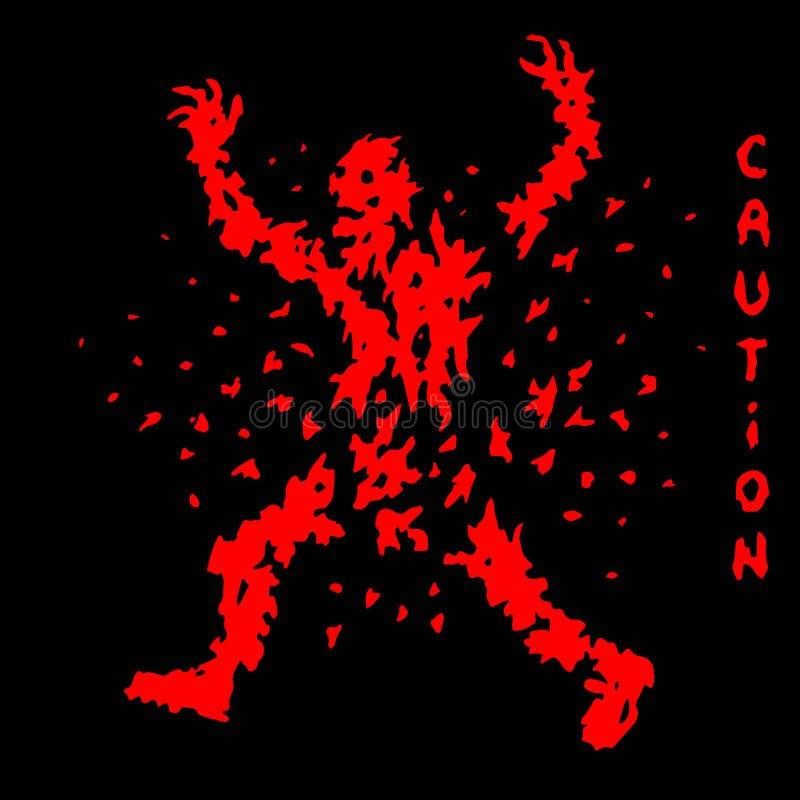 Förstörd röd levande dödkontur också vektor för coreldrawillustration stock illustrationer