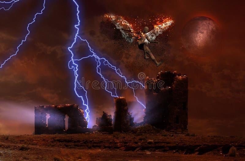 Förstörd tempel och stupad ängel royaltyfri foto