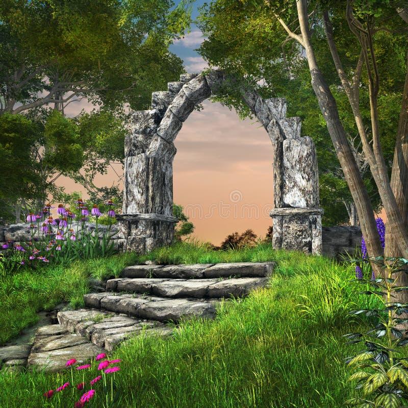 Förstörd trädgård för stenbåge på våren royaltyfri illustrationer