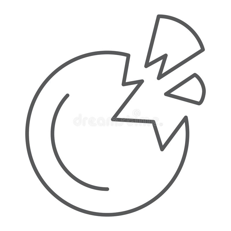 Förstörd tunn linje symbol för planet, utrymme och vetenskap, brutet planettecken, vektordiagram, en linjär modell stock illustrationer