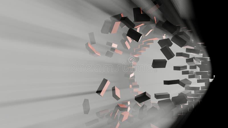 Förstörelse av en tegelstenvägg Volymljus royaltyfri illustrationer