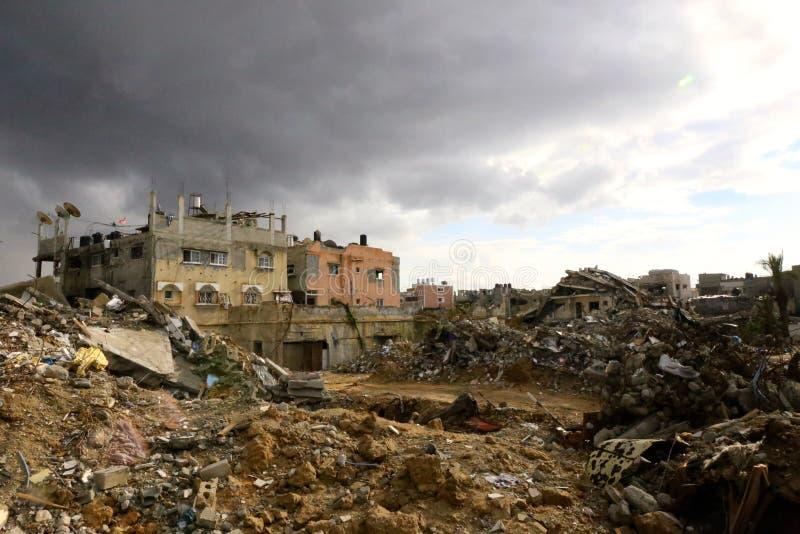 Förstörelse i Shejayia, Gaza stad, Gazaremsan arkivbild