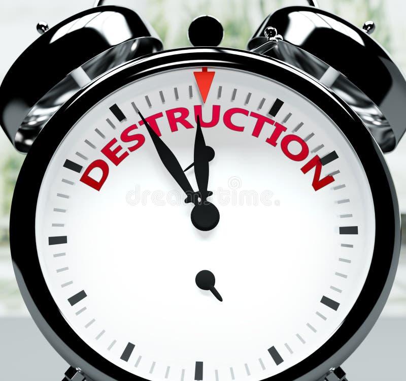 Förstörelse snart, nästan där, på kort tid - en klocka symboliserar en påminnelse om att förintelsen är nära, kommer att ske och  vektor illustrationer