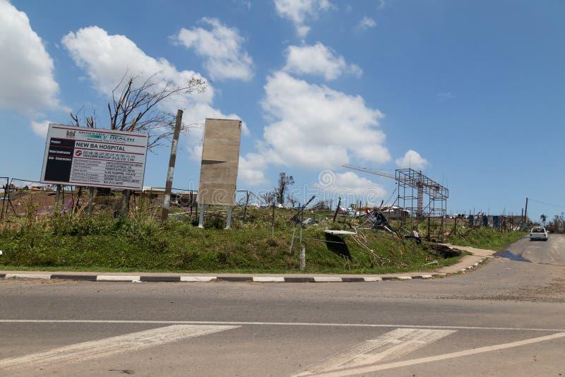 Förstörelse som orsakas av den tropiska cyklon Winston fiji royaltyfri fotografi