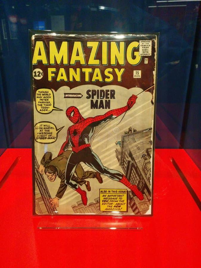 Först - någonsin Spider-Man komisk fantastisk fantasi på den MoPOP utställningen i Seattle royaltyfri fotografi