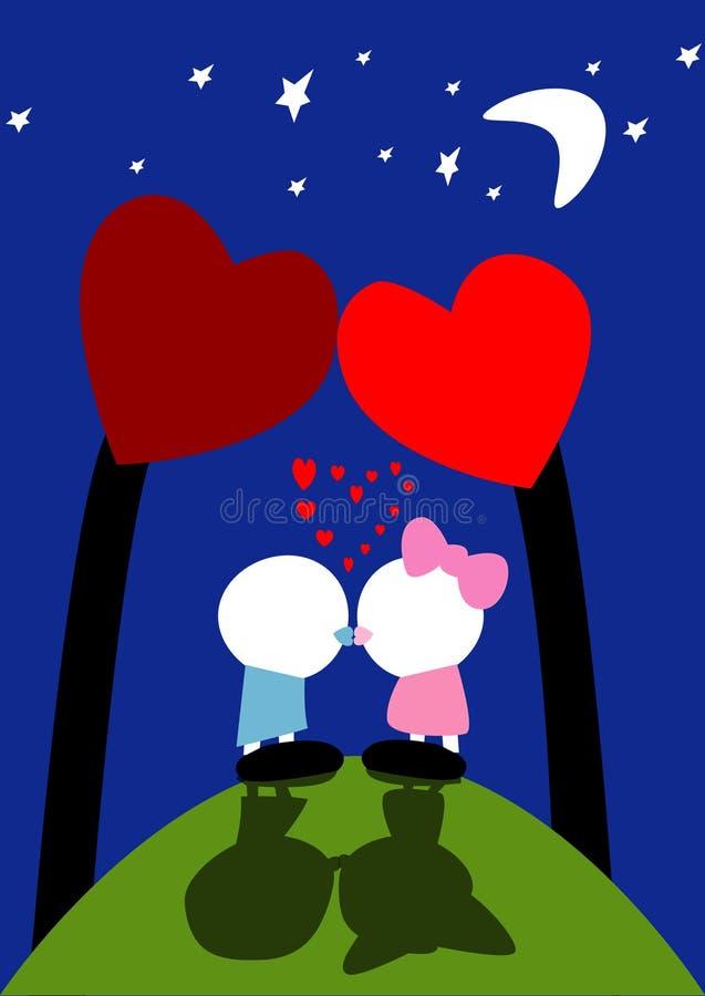 först valentin för kyss s stock illustrationer