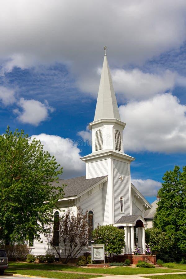Första Babtist kyrka i Hudson, Wisconsin, USA arkivbild