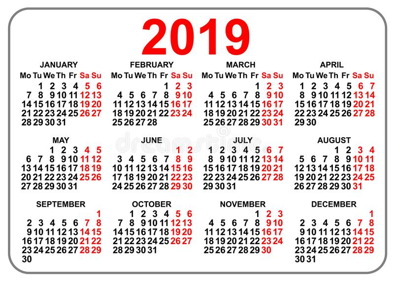 första dag måndag för kompakt fackkalender för raster 2019 stock illustrationer