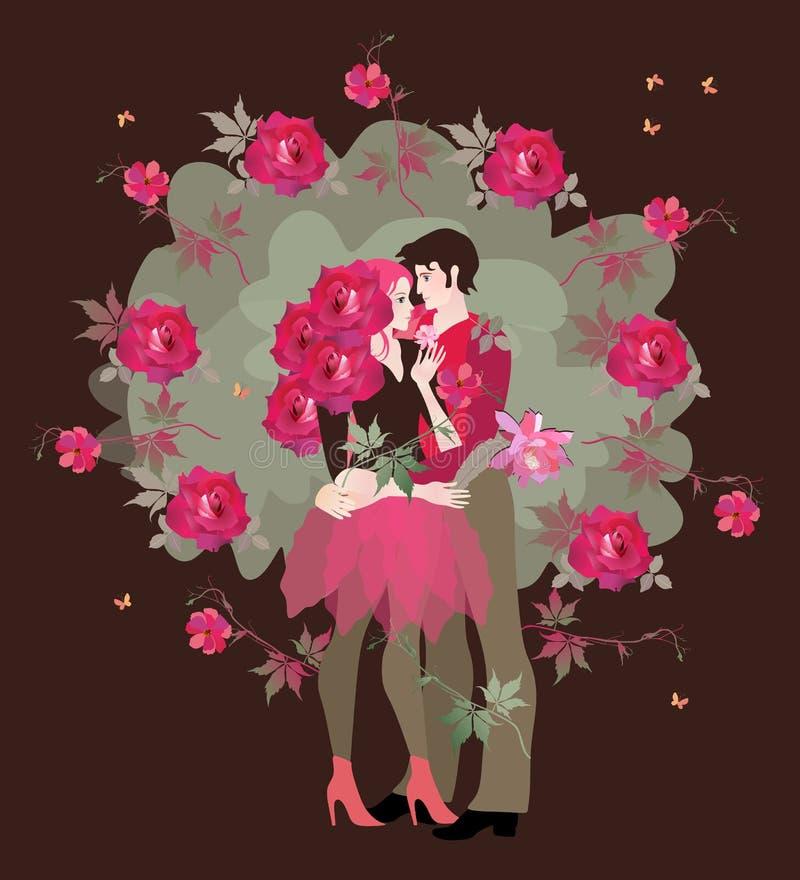 första förälskelse En tonårs- flickvän med lockigt hår i form av rosor och en tonåringpojkvän att omfamna sig vektor illustrationer