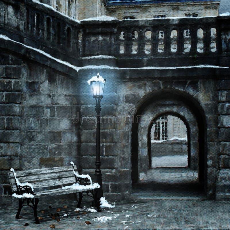 första gammala snow för stad royaltyfri illustrationer