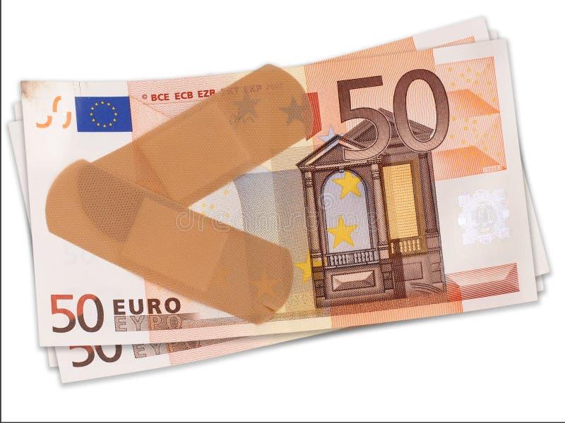 Första hjälpen för det slog euroet, finansiell begreppsEU royaltyfria foton