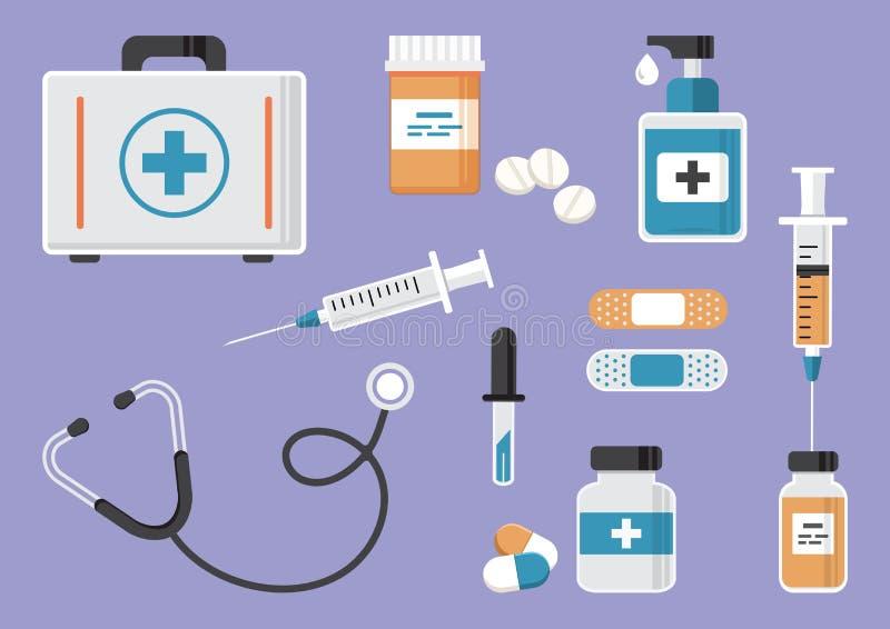 Första hjälpensats, stetoskop och injektionsspruta, liten medicinflaska av medicin och piller, handsanitizerflaskor, medicinsk mu stock illustrationer