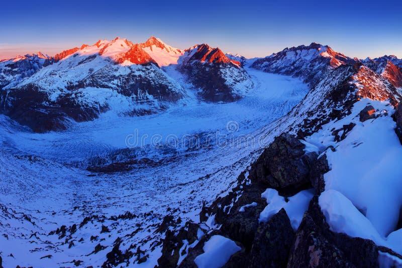 Första insnöade fjällängberg Majestätisk panoramautsikt av den Aletsch glaciären, den största glaciären i fjällängar på UNESCOarv arkivbilder