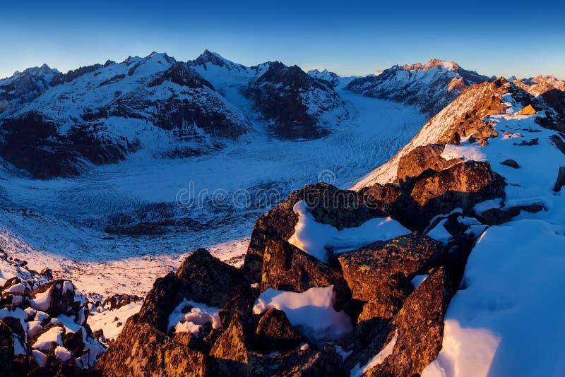 Första insnöade fjällängberg Majestätisk panoramautsikt av den Aletsch glaciären, den största glaciären i fjällängar på UNESCOarv royaltyfri fotografi
