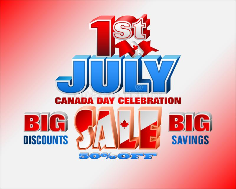 Första Juli, Kanada dag, försäljningar, kommersiella händelser vektor illustrationer
