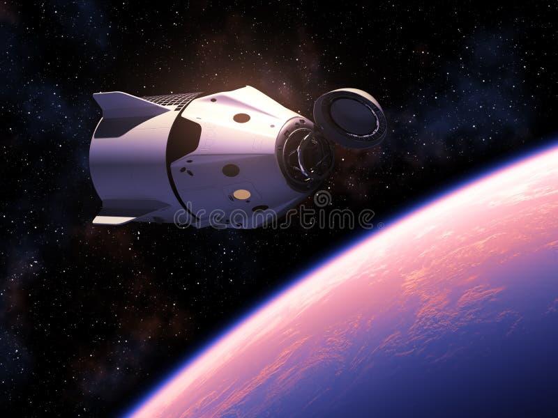 Första kommersiella rymdskepp som kretsar kring blå planetjord stock illustrationer