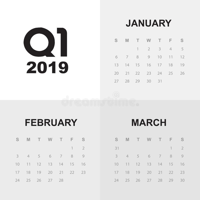 Första kvartal av kalendern 2019 vektor illustrationer