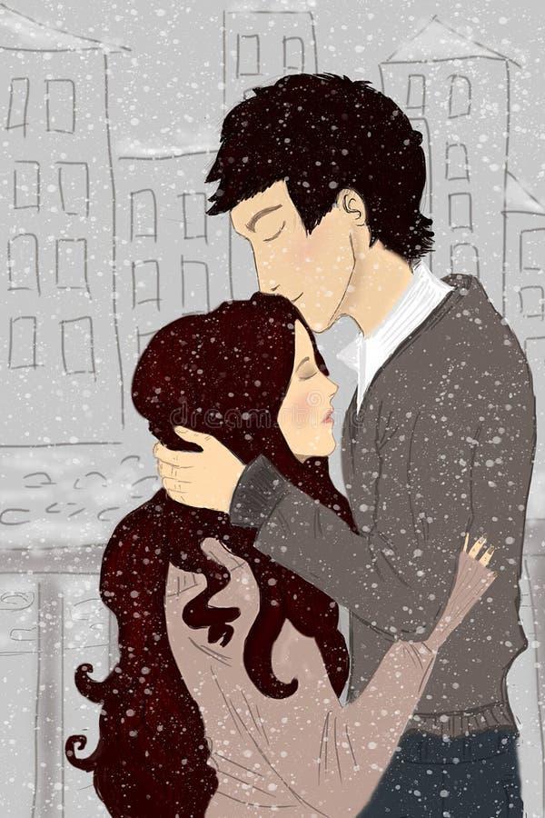 Första kyss royaltyfria bilder