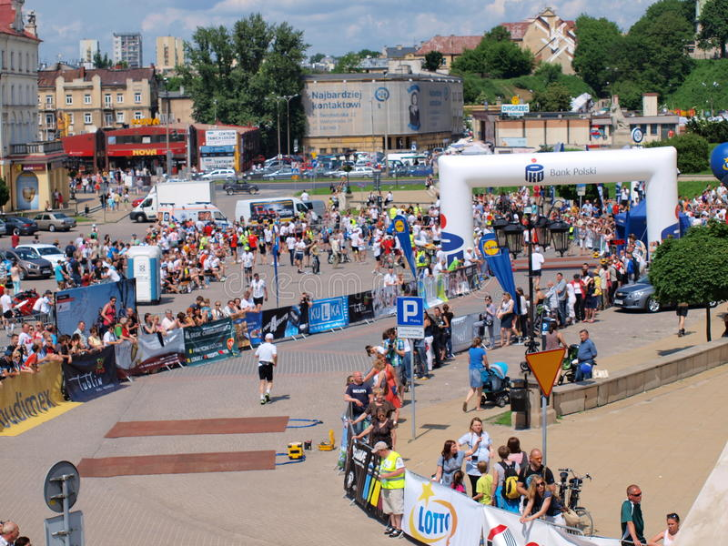 Första Lublin maraton, Lublin, Polen arkivfoto