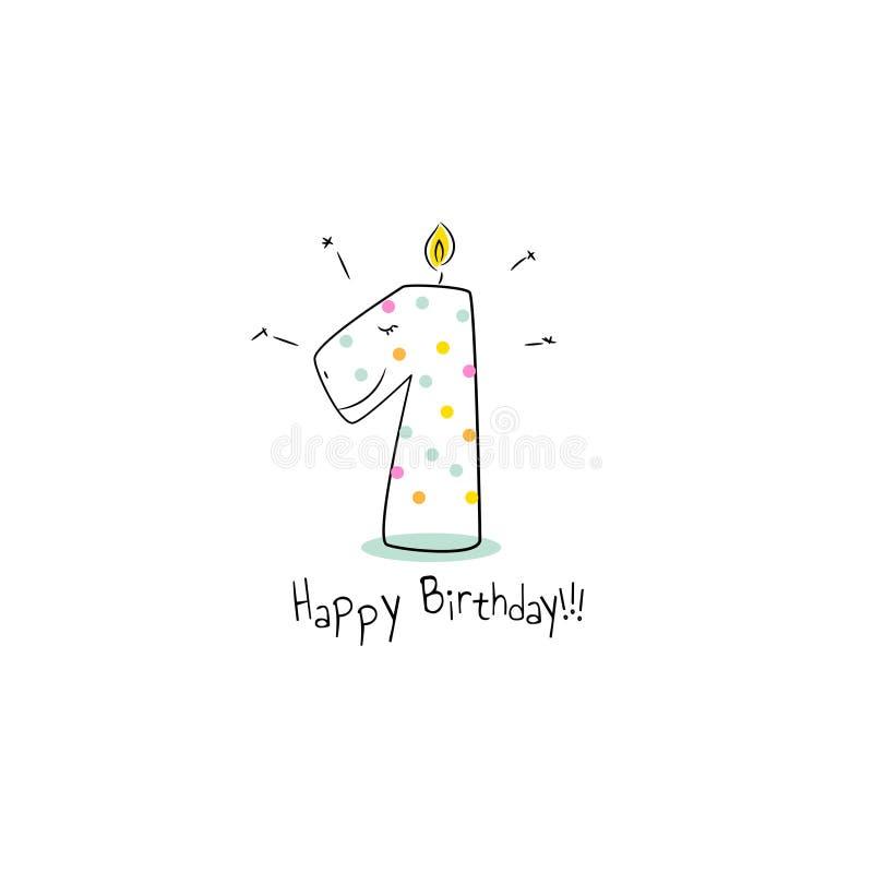 Första mall för design för kort för födelsedagdino stearinljus stock illustrationer