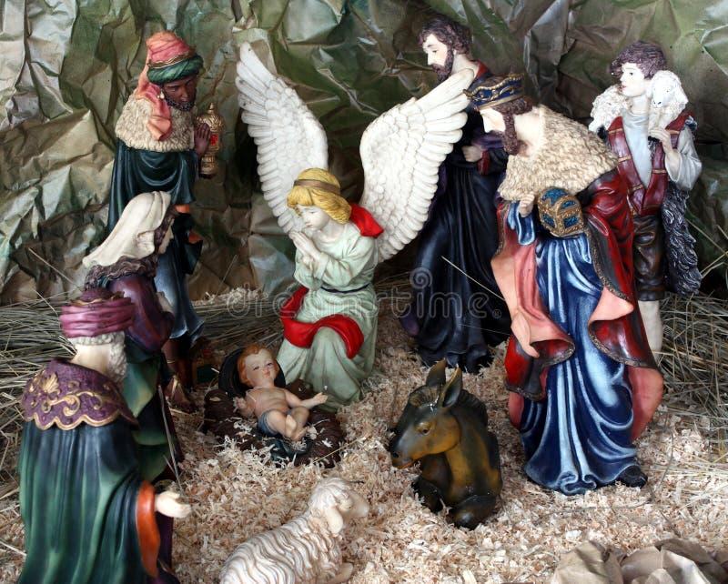 första nativity för jul royaltyfri bild