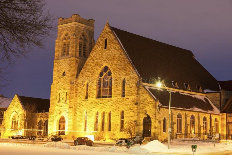 Första presbyterianska kyrkan i Topeka på soluppgång fotografering för bildbyråer
