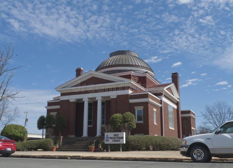 Första presbyterianska kyrkan, Sallisaw som är reko fotografering för bildbyråer
